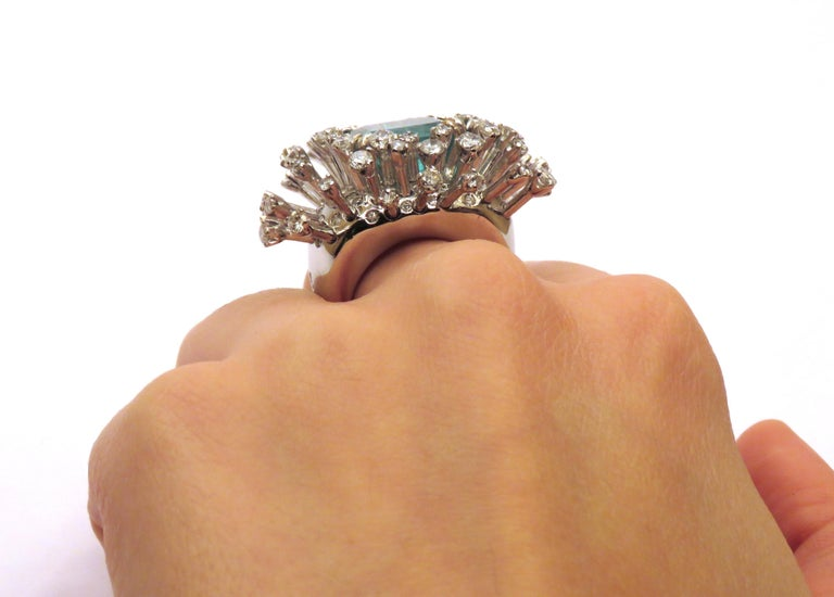 6.26 Carat Green Emerald Diamonds White 18K Gold Cocktail Ring Made In Italy For Sale 6