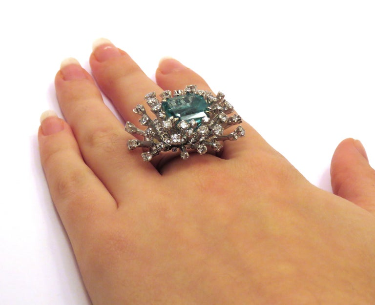 6.26 Carat Green Emerald Diamonds White 18K Gold Cocktail Ring Made In Italy For Sale 7