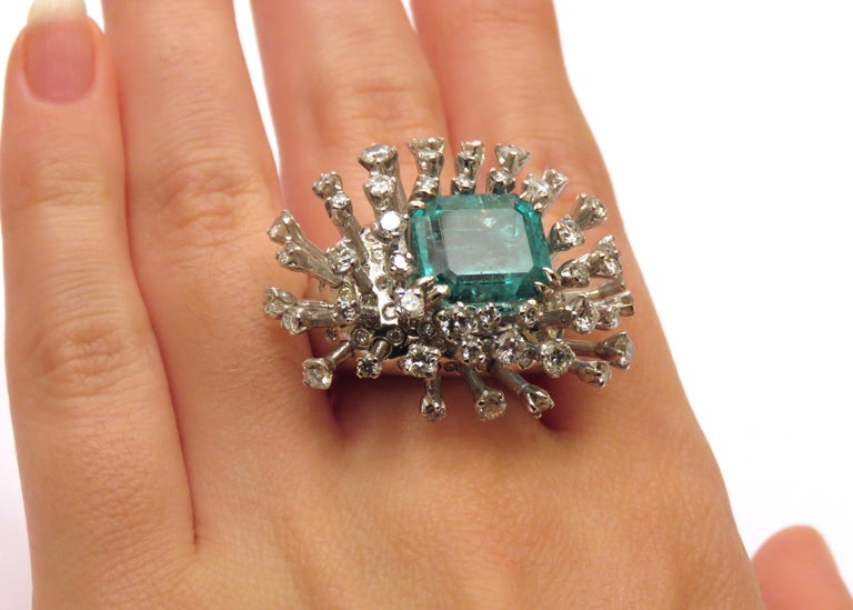 6.26 Carat Green Emerald Diamonds White 18K Gold Cocktail Ring Made In Italy For Sale 8