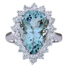 6.26 Carat Natural Aquamarine 18 Karat White Gold Diamond Ring