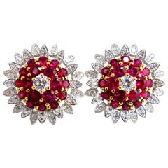 6.26 Carat Natural Vivid Red Ruby Diamond Domed Cluster Clip Earrings 18 Karat