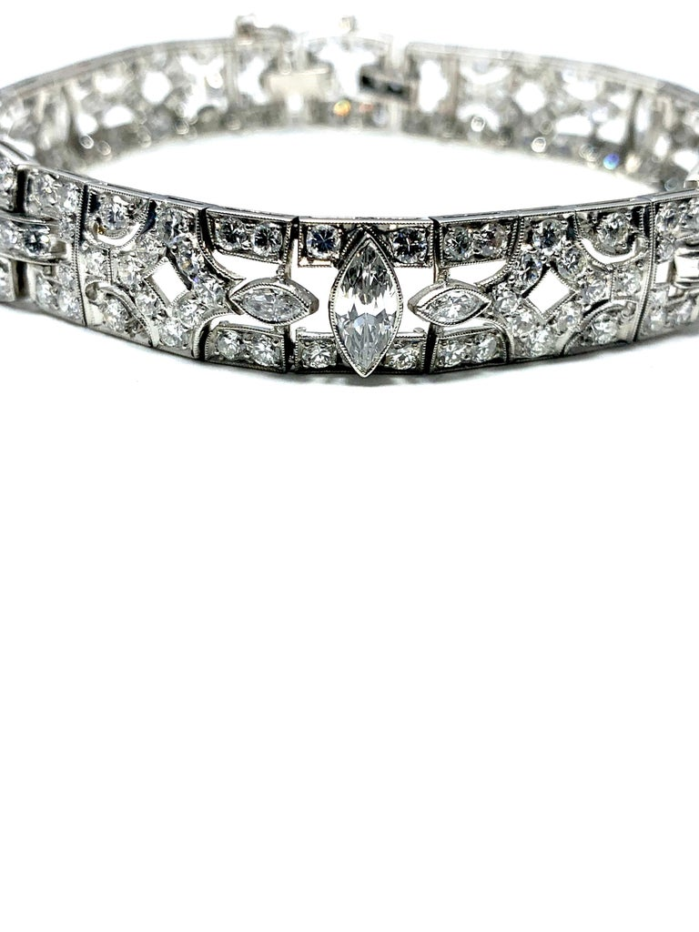 Round Cut 6.26 Carat Art Deco Diamond and Platinum Bracelet For Sale
