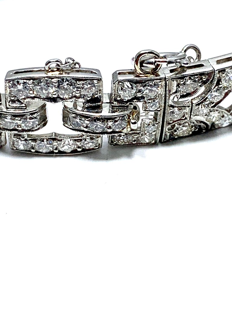 Women's or Men's 6.26 Carat Art Deco Diamond and Platinum Bracelet For Sale