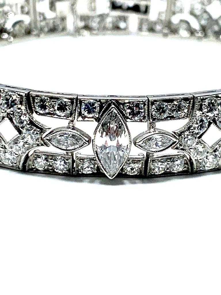 6.26 Carat Art Deco Diamond and Platinum Bracelet For Sale 1
