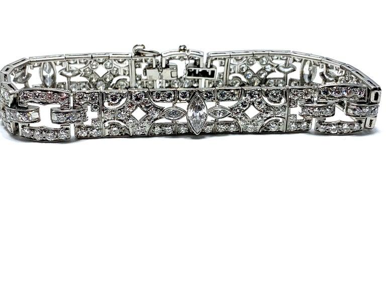 6.26 Carat Art Deco Diamond and Platinum Bracelet For Sale 2