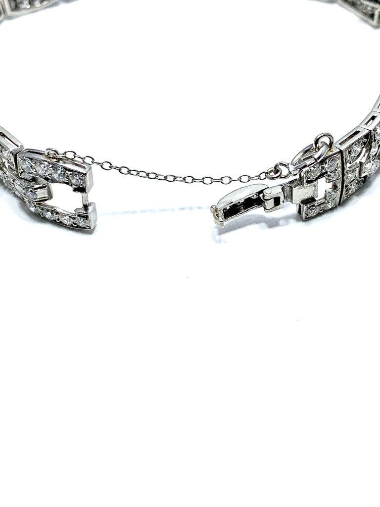 6.26 Carat Art Deco Diamond and Platinum Bracelet For Sale 3