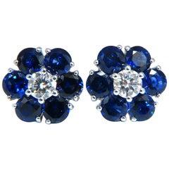 6.26ct Natural Sapphire Diamonds Floretta Cluster Snowflake Earrings 14 Karat