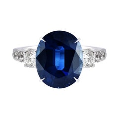 Laviere 6.27 Carat Blue Sapphire and Diamond Ring