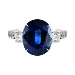 Laviere 6.27 Carat Blue Sapphire and Diamond Ring