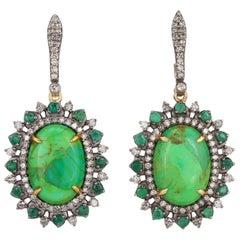 6.27 Carat Turquoise Emerald Diamond Earrings