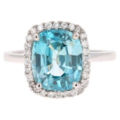 6.28 Carat Blue Zircon Diamond 14 Karat White Gold Ring