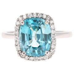 6.28 Carat Blue Zircon Diamond White Gold Cocktail Ring