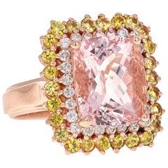 6.28 Carat Cushion Cut Pink Morganite Diamond Rose Gold Cocktail Ring