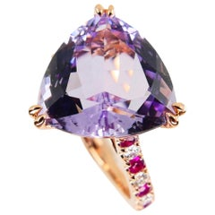 6.28 Carat Trillion Cut Amethyst, Ruby and Diamond Cocktail Ring, 18k Rose Gold