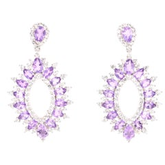 6.29 Carat Amethyst White Topaz Silver Earrings