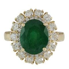 6.29 Carat Emerald 18 Karat Yellow Gold Diamond Ring