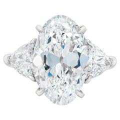 6.29 Carat Oval Diamond Platinum Ring GIA Certified
