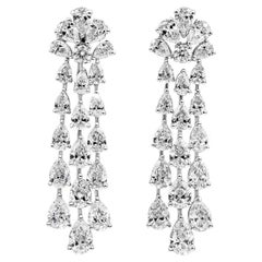 6.29 Carat Pear Shape Diamond Three-Row Drop Earrings