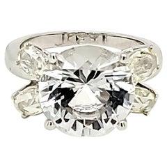 6.29 Carat White Topaz and Yellow Diamond White Gold Engagement Ring