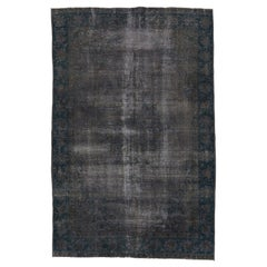 Distressed Vintage Rug Re-Dyed in Brown Color for Modern Interiors
