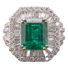 6.3 Carat Emerald and Diamond Engagement Ring