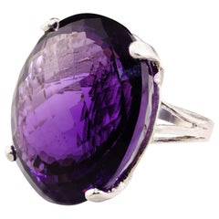 Gemjunky 63 Carat Magnificent Amethyst and Sterling Silver Ring