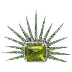 6.3 Carat Peridot Tsavorite Diamond Cocktail Ring