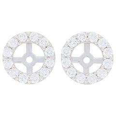 .63 Carat Round Brilliant Diamond Earring Enhancers, 14k Gold Halo Stud Jackets