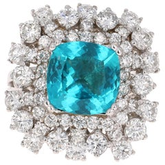 6.30 Carat Apatite Diamond Ring 18 Karat White Gold Ring