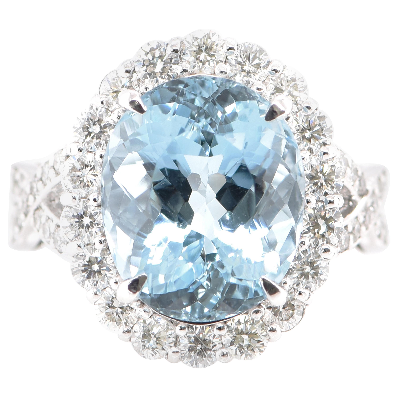 6.30 Carat Aquamarine and Diamond Cocktail Ring Set in Platinum