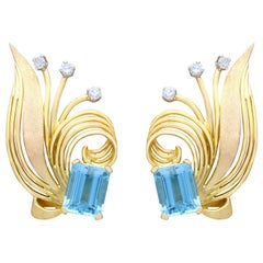 6.30 Carat Aquamarine and Diamond Yellow Gold Earrings