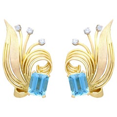 6.30 Carat Aquamarine and Diamond Yellow Gold Earrings Vintage, circa 1950