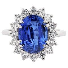 6.30 Carat Blue Sapphire Engagement Diamond 18 Karat White Gold Ring