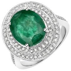 6.30 Carat Brazilian Emerald and Diamond 14 Karat White Gold Cocktail Ring