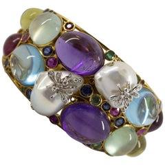 6.30 Carat Emerald Ruby Sapphire Diamond Tourmaline Pearl Yellow Gold Bracelet