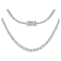 6.30 Carat Genuine White Diamond 14 Karat White Gold Necklace