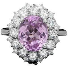 6.30 Carat Natural Kunzite and Diamond 14 Karat Solid White Gold Ring