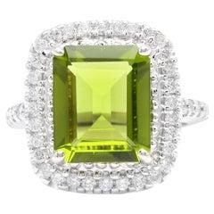 6.30 Carat Natural Peridot and Diamond 14k Solid White Gold Ring