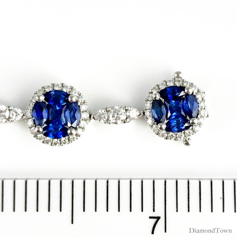 6.30 Carat Sapphire and 2.17 Carat Diamond Tennis Bracelet in 18 Karat Gold In New Condition For Sale In New York, NY