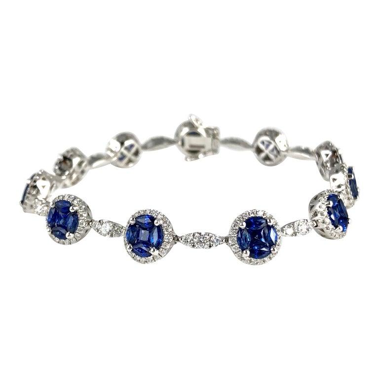 6.30 Carat Sapphire and 2.17 Carat Diamond Tennis Bracelet in 18 Karat Gold For Sale
