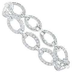 6.30 Carat Total Diamond Encrusted Link Bracelet