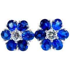 6.30 Carat Natural Sapphire Diamonds Cluster Round Halo Earrings 14 Karat Gold