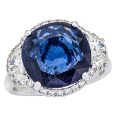 6.31 Carat Burma Vivid Blue Sapphire GRS Certified, Unheated Ceylon Ring