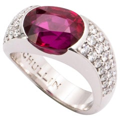 6.31 Carat Certified Pigeon-Blood Red Ruby and Diamond Solitaire Ring