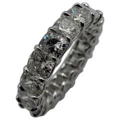 6.31 Carat Cushion Cut Eternity Band Ring