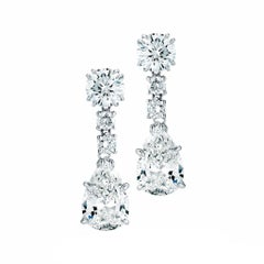 6.31 Carat Dangling Pear Shape Diamond Earrings in Platinum by The Diamond Oak