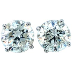 6.31 Carat Diamond Studs Earrings 18 Karat White Gold