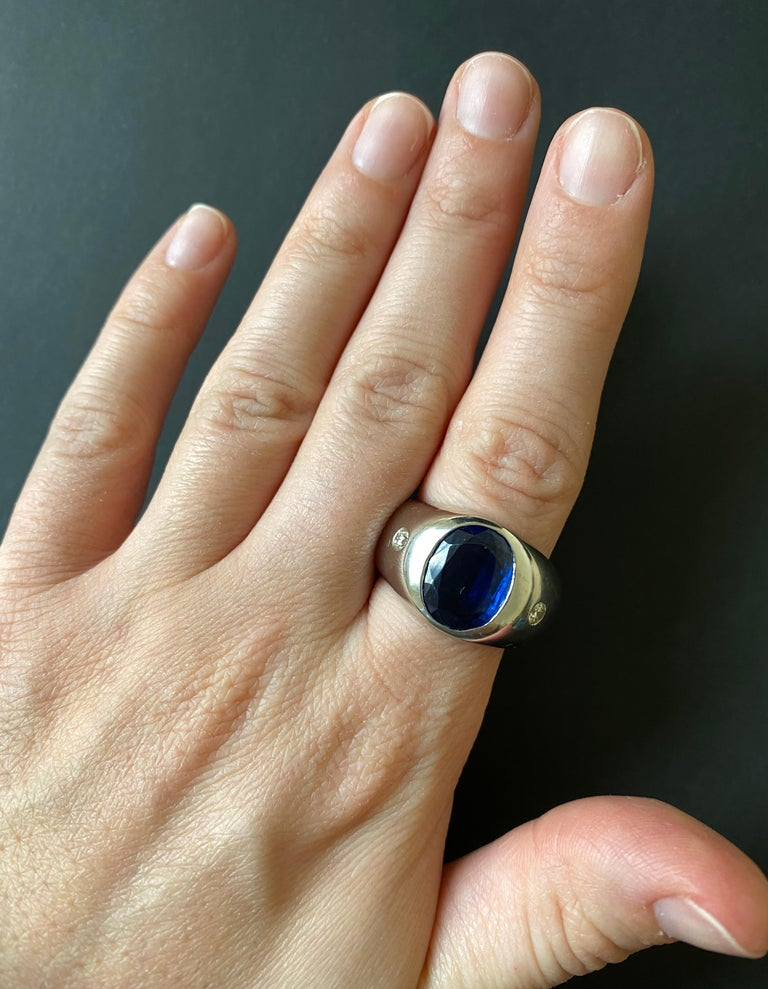 Material: 14k White Gold Gemstones: 1 Oval Kyanite at 16.31 Carats - 12.8 x 10 mm Diamonds: 2 Brilliant Round White Diamonds at 0.22 Carats. SI Clarity / H-I Color.  Alberto offers complimentary sizing on all rings.  Fine one-of-a-kind craftsmanship