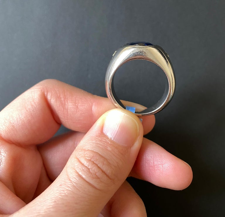 Oval Cut 6.31 Carat Oval Kyanite and White Diamond Bezel Set Men Ring Band 14K White Gold For Sale