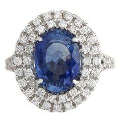 6.31 Carat Sapphire 18 Karat White Gold Diamond Ring